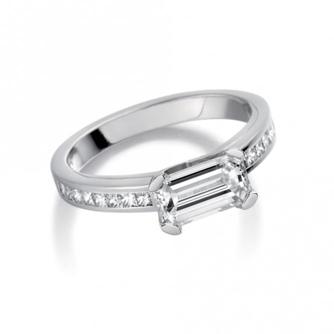 Platinum Emerald and Princess Cut Diamond Engagement Ring