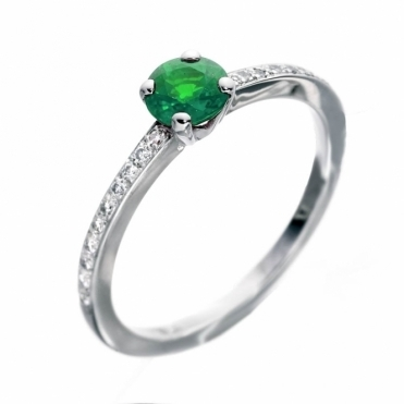 Platinum Emerald Ring with Pave Set Diamond Shoulders