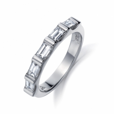 Platinum Five Stone Baguette Cut Diamond Ring
