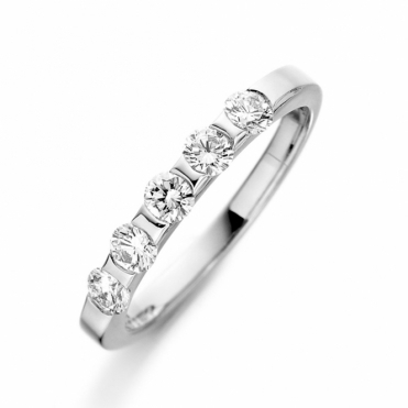 Platinum Five Stone Brilliant Cut Diamond Ring
