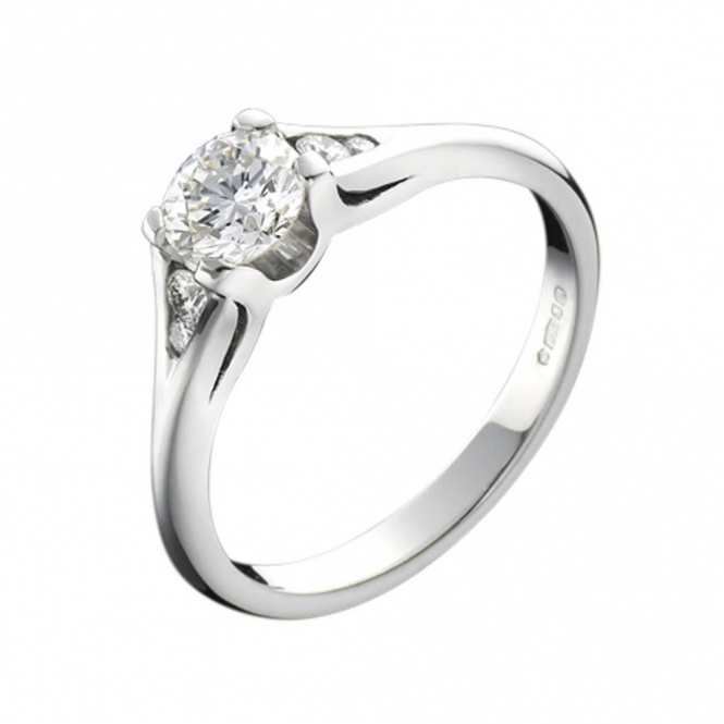 Platinum Four Claw Brilliant Cut Diamond Engagement Ring
