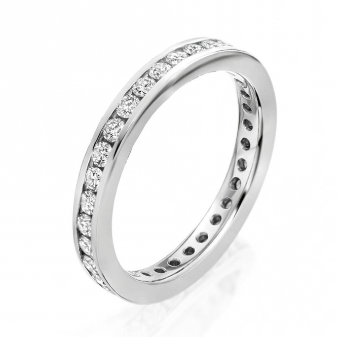 Platinum Full Channel set Diamond Eternity Ring