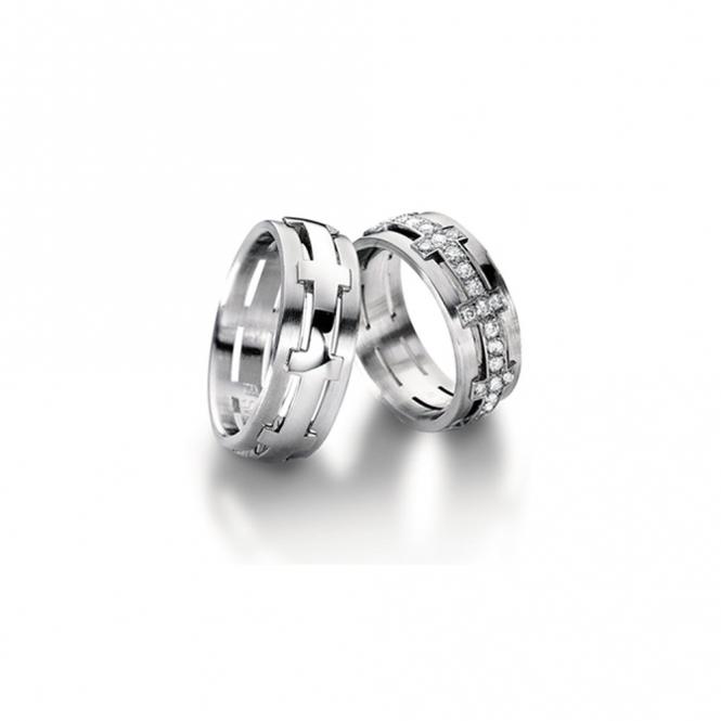 Platinum Half Set Diamond Sculptures Wedding Ring