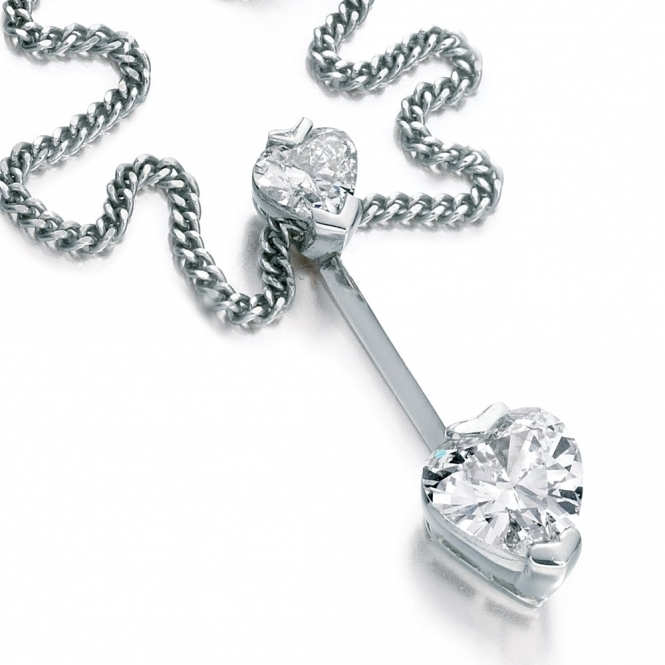 Platinum Heart Shaped Diamond Pendant. Design No. 1U60A