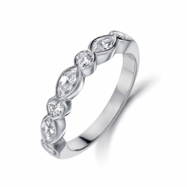 Platinum Marquise and Brilliant Cut Half Eternity Diamond Ring. Design no. 1W07A