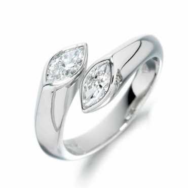 Platinum Marquise Diamond Crossover Ring