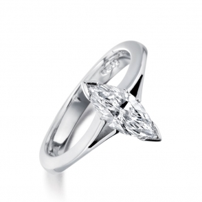 Platinum Marquise Diamond Solitaire Ring