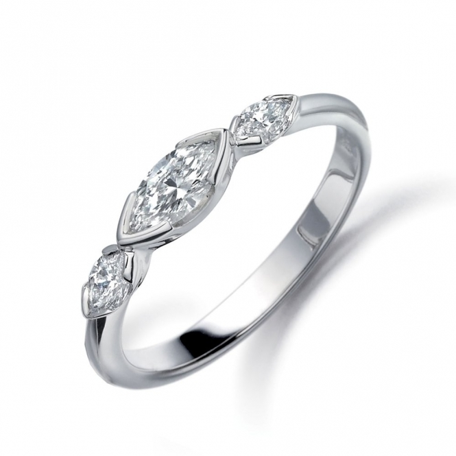 Platinum Marquise Diamond Three Stone Ring