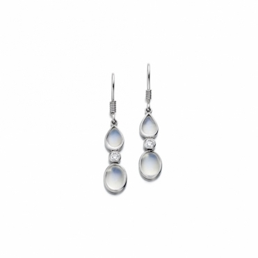 Platinum Moonstone & Diamond Set Earrings. Design No. 1U40A
