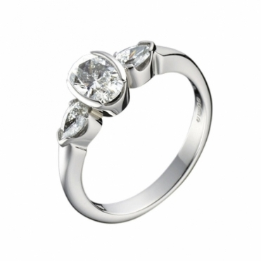 Platinum Oval and Pear Shaped Diamond Engagement Ring