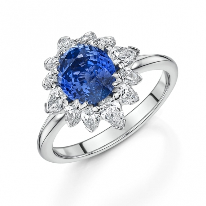 Platinum Oval Blue Sapphire & Pear Shaped Diamond Cluster Ring