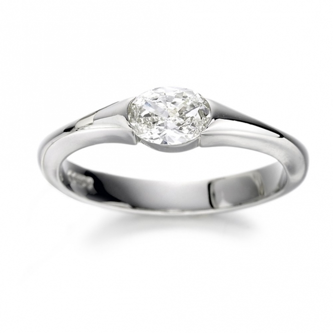 Platinum Oval Cut Diamond Set Engagement Ring Design No. 1N42C