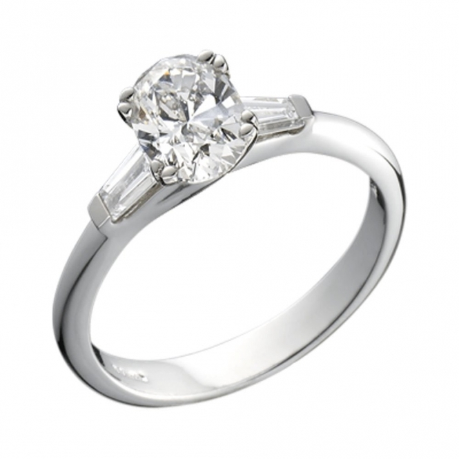 Platinum Oval Diamond Baguette Shoulder Engagement Ring