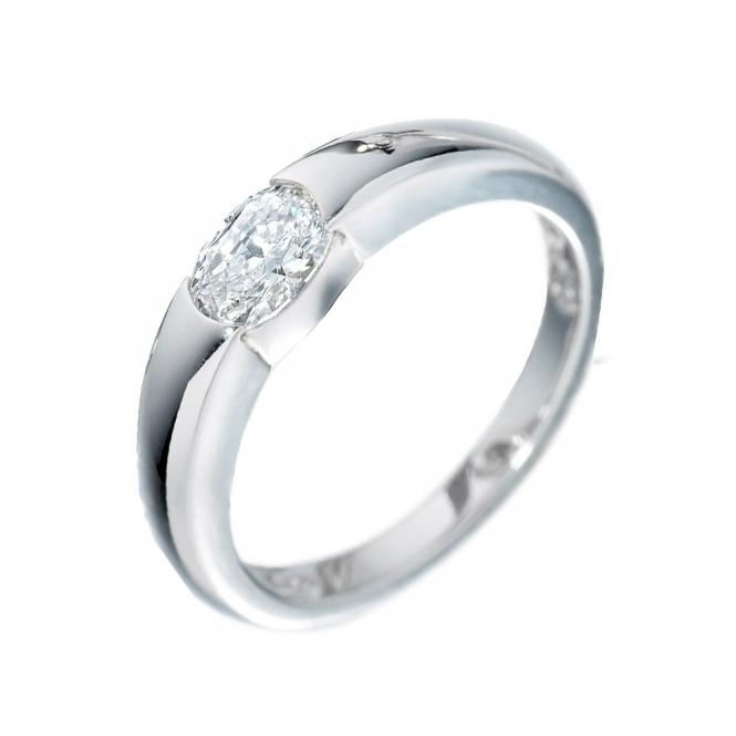 Platinum Oval Diamond Ring 1Q75
