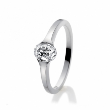 Platinum Oval Diamond Solitaire Ring 1R89B