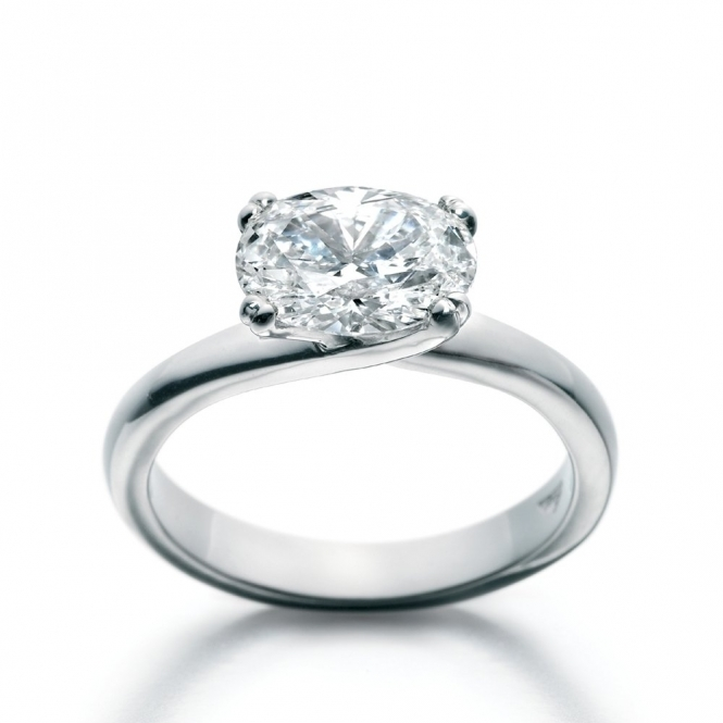 Platinum Oval Diamond Solitaire Ring 1U11B