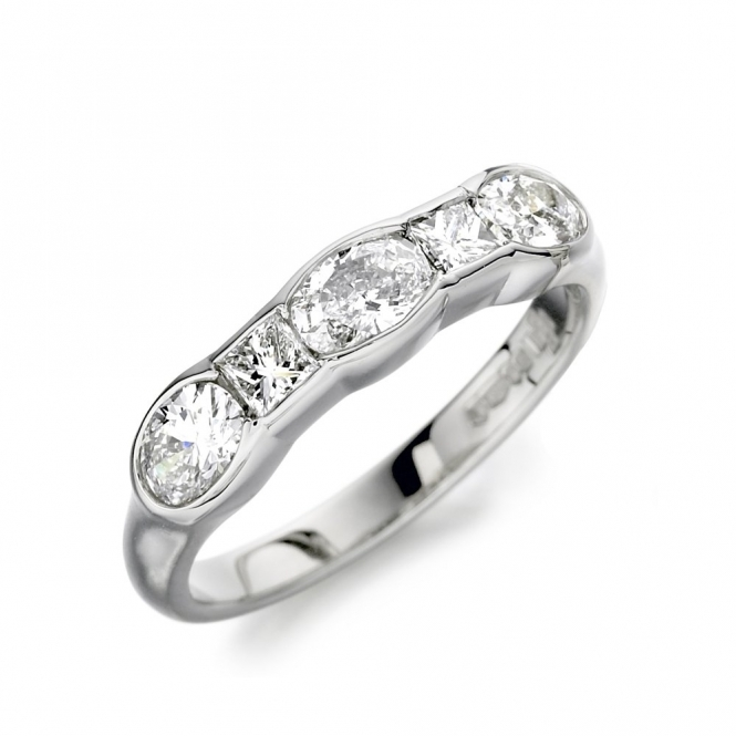 Platinum Oval & Princess Cut Diamond Half Eternity Ring 1P81A