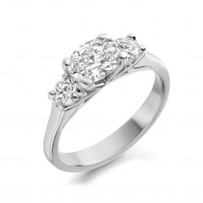 Platinum Oval & Round Diamond Three Stone Ring