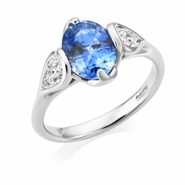 Platinum Oval Sapphire & Diamond Ring