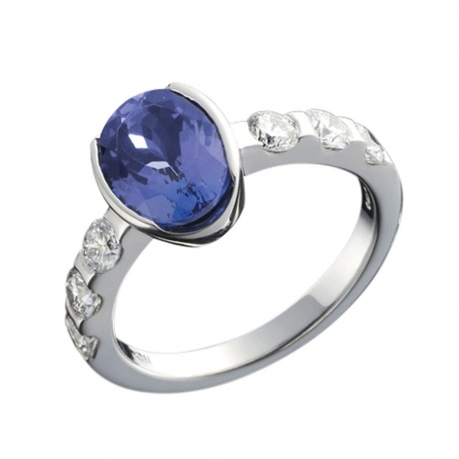 Platinum Oval Tanzanite and Brilliant Cut Diamond Ring