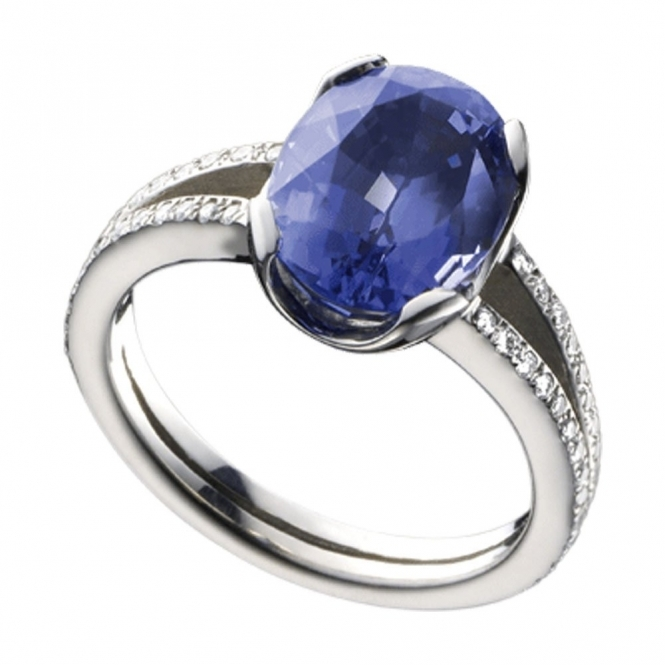Platinum Oval Tanzanite and Split Shank Diamond Ring