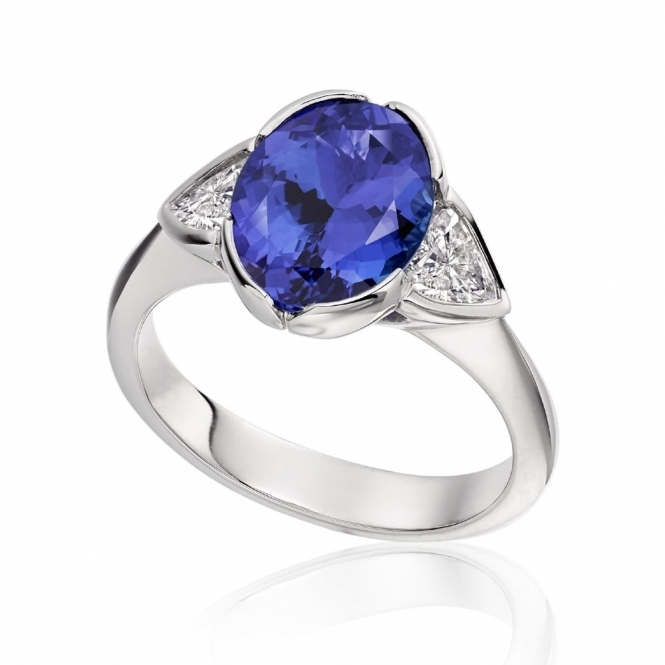 Platinum Oval Tanzanite and Trilliant Diamond Ring
