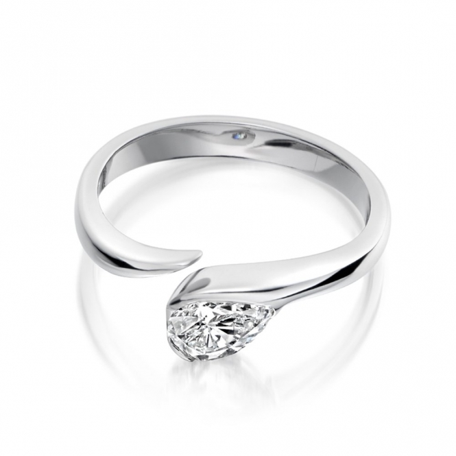 Platinum Pear Diamond Engagement Ring 1X28A