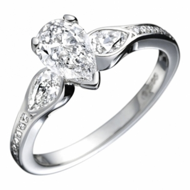 Platinum Pear Shape 3 Stone Diamond Engagement Ring