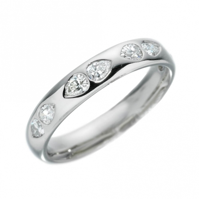 Platinum Pear shape Diamond Wedding Ring