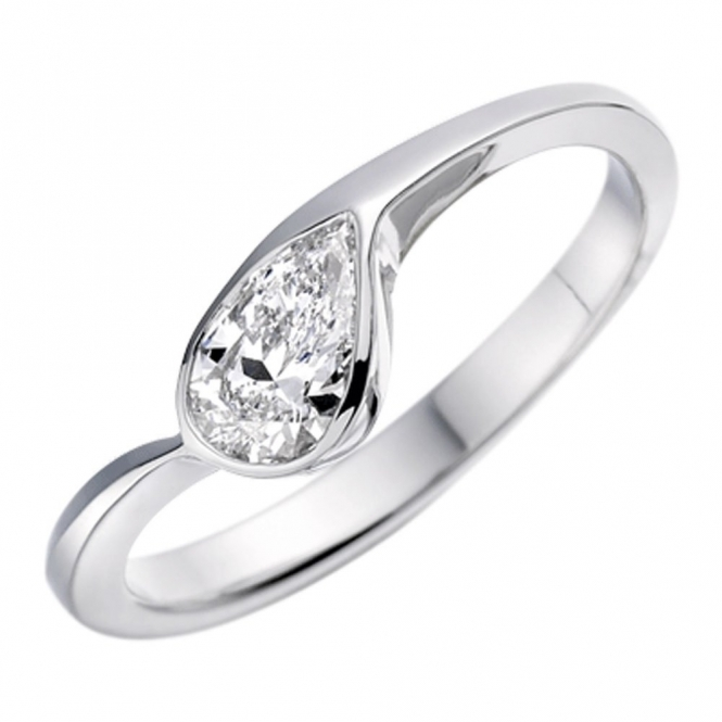 Platinum Pear Shaped Diamond Engagement Ring Christopher Wharton