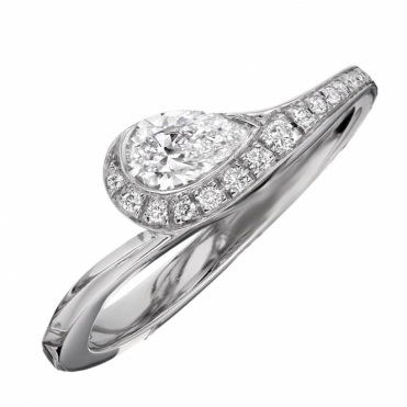 Platinum Pear Shaped Diamond Ring With a Pave Diamond Shoulder