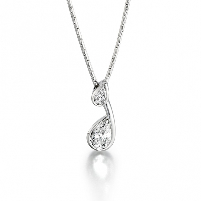 Platinum Pear Shaped Diamond Set Pendant.  Design No. 1T83A