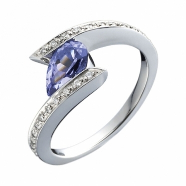 Platinum Pear Shaped Tanzanite and Diamond Cross Over Ring
