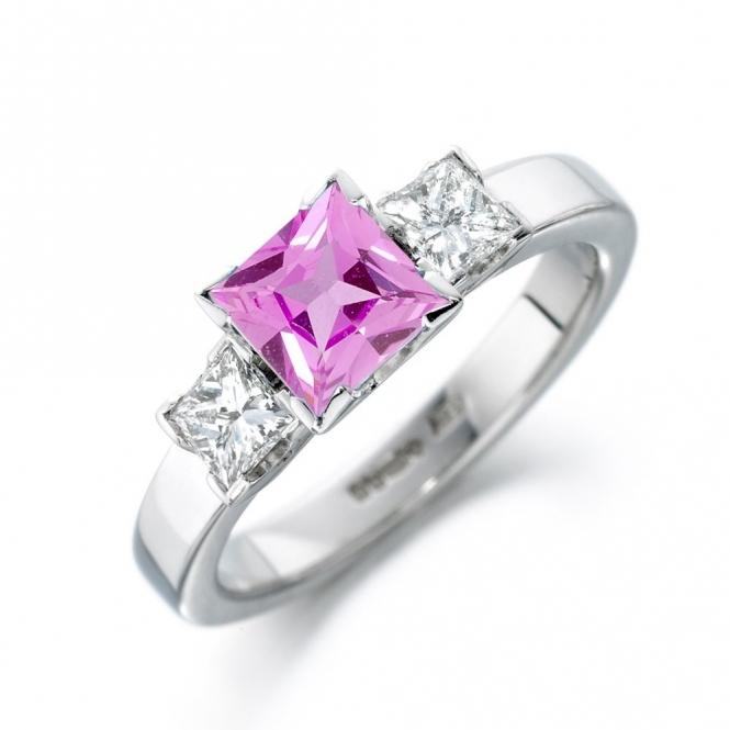 Platinum Pink Sapphire and Diamond Ring 1S337