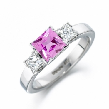 Platinum Pink Sapphire and Diamond Ring 1S337