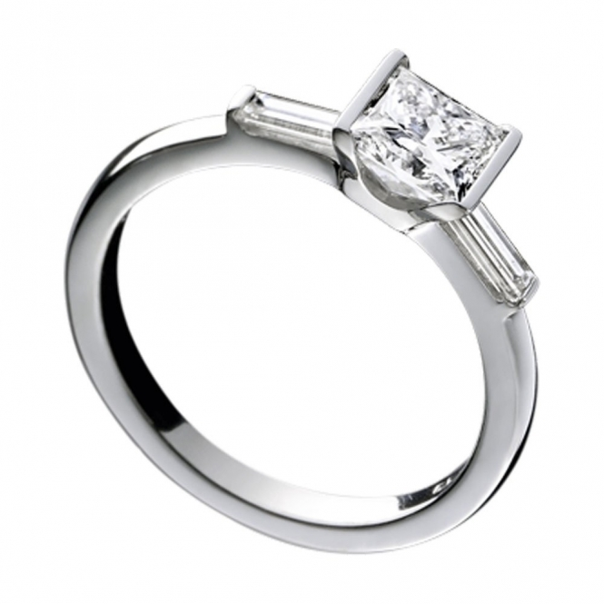Platinum Princess Cut and Baguette Diamond Engagement Ring