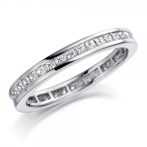 platinum princess cut set wedding ring
