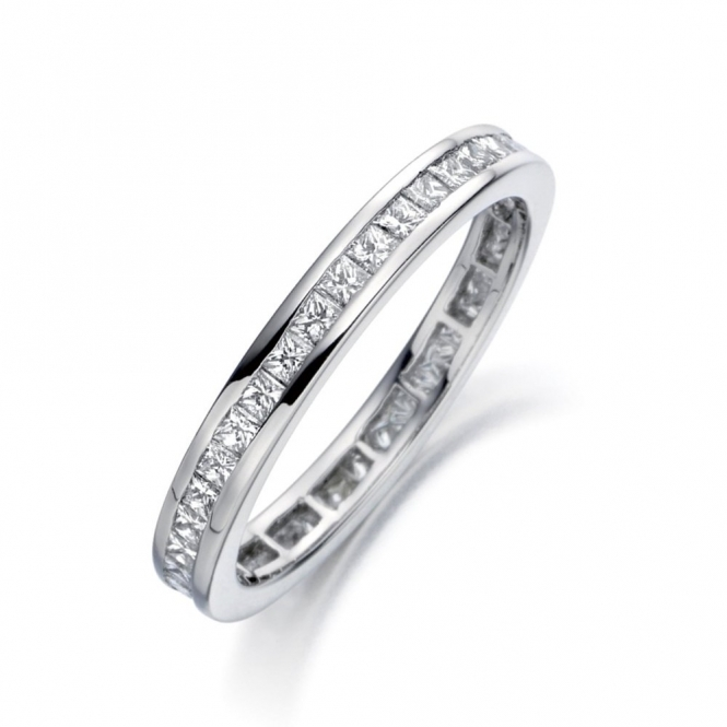 Platinum princess cut diamond set wedding ring for Platinum princess cut wedding rings