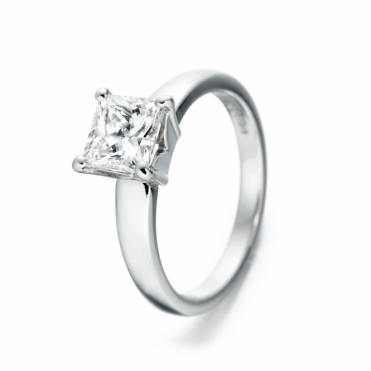 Platinum Princess Cut Diamond Solitaire Ring 1Q61A