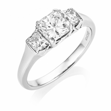 Platinum Radiant and Trap Cut Diamond Three Stone Ring