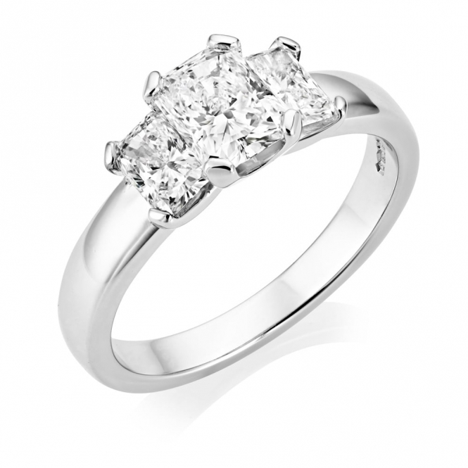 Platinum Radiant Cut Three Stone Ring