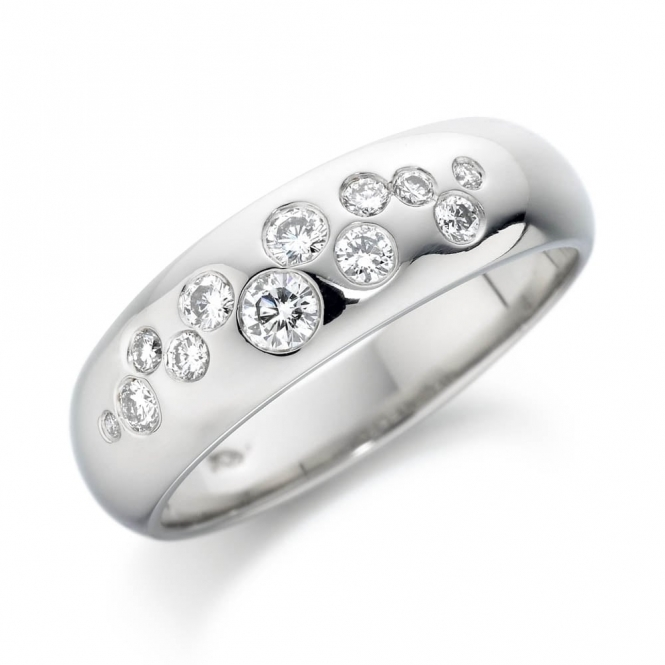 Platinum Random Gypsy Set Diamond Wedding Ring