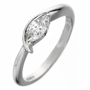 Platinum Ring Set With a Marquise Diamond