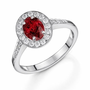 Platinum Ruby and Diamond Halo Ring