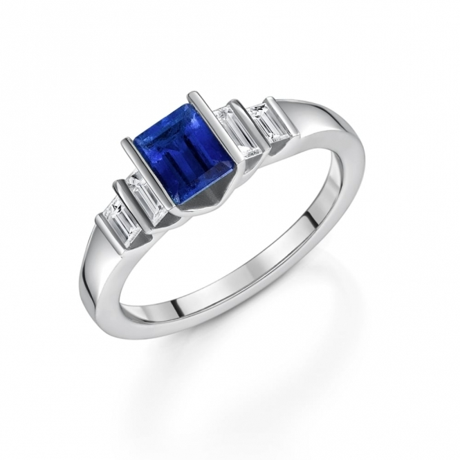 Platinum Sapphire and Diamond Five Stone Ring
