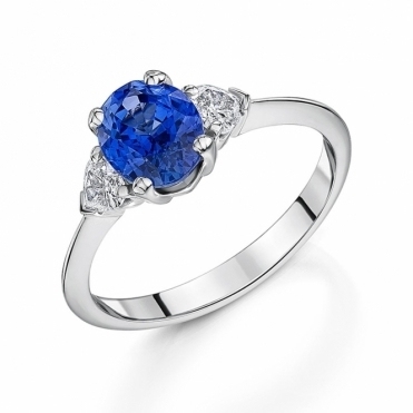 Platinum Sapphire and Diamond Three Stone Ring