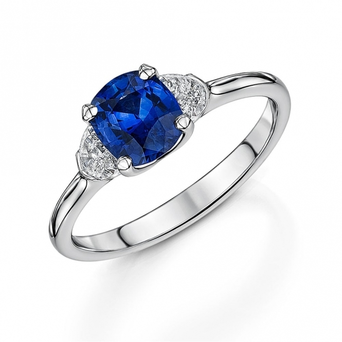 Platinum Sapphire and Half Moon Diamond Shoulder Ring