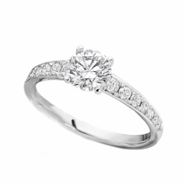 Platinum Single Stone Diamond Ring with Pave Diamond Shoulders and Claws