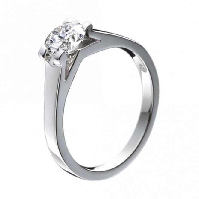 Platinum Solitaire Brilliant Cut Diamond Engagement Ring