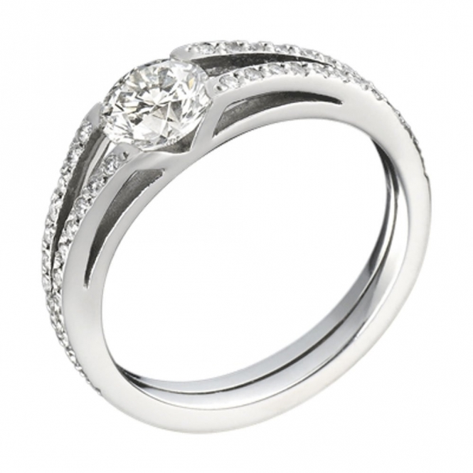 Platinum Split Pave' Shank Brilliant Cut Diamond Engagement Ring